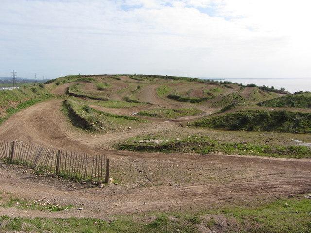 Racing dirt track near Pengam Moors