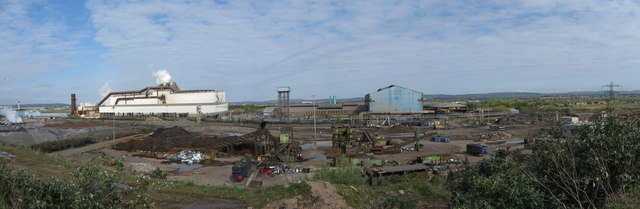 View over Tremorfa Steelworks and Sim's Metals by Gareth James