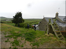 SH1727 : On a path by a cottage, with ladder stile by Peter Barr