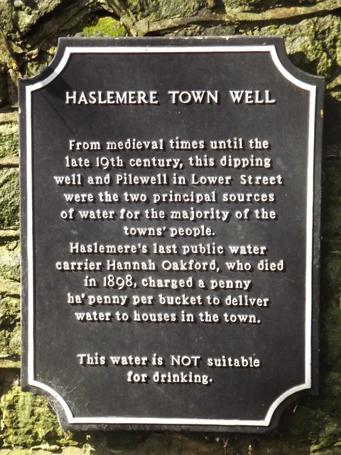 Haslemere Town Well Plaque