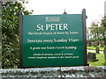 SJ5578 : St Peter, The Parish Church of Aston by Sutton, Name board by Alexander P Kapp