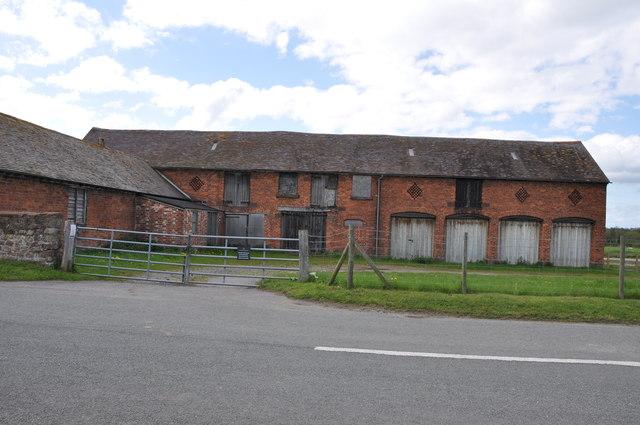 Red Brick Farm buildings opposite Wroxeter Roman City museum