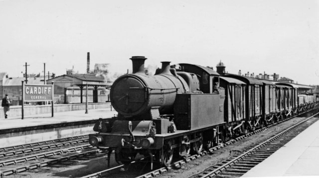 Cardiff General station, with a Taff Vale 0-6-2T on a Down freight