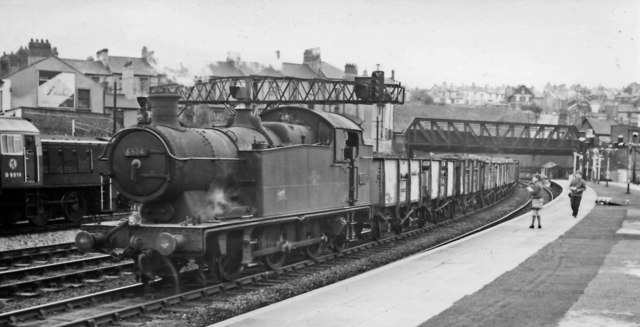 Up coal train passing Newport High Street station