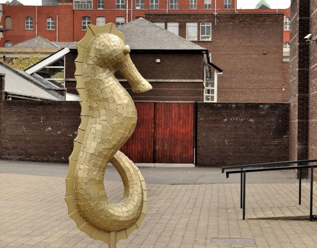 "The ""Inst"" seahorse sculpture, Belfast (1)"