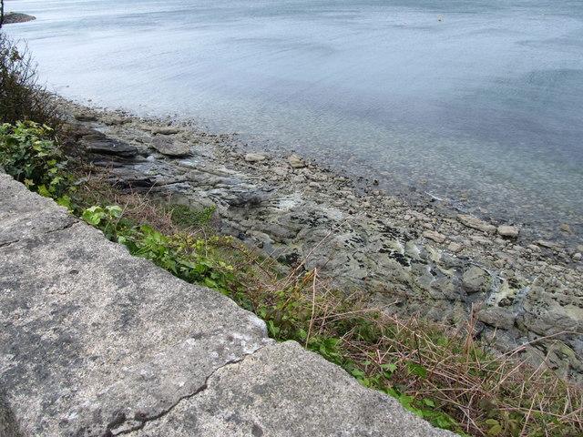 Rocky coastline below the Kilkeel Road (A2)