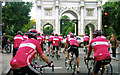 TQ2780 : Marble Arch. The T-Mobile Team Heading for the Start by Roy Hughes