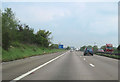 SJ4270 : M53 northbound approaching warning signs for Junc 11 by John Firth