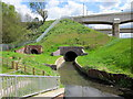 SP0483 : The Bourn Brook and New, Unopened, Footpath Tunnel by Roy Hughes