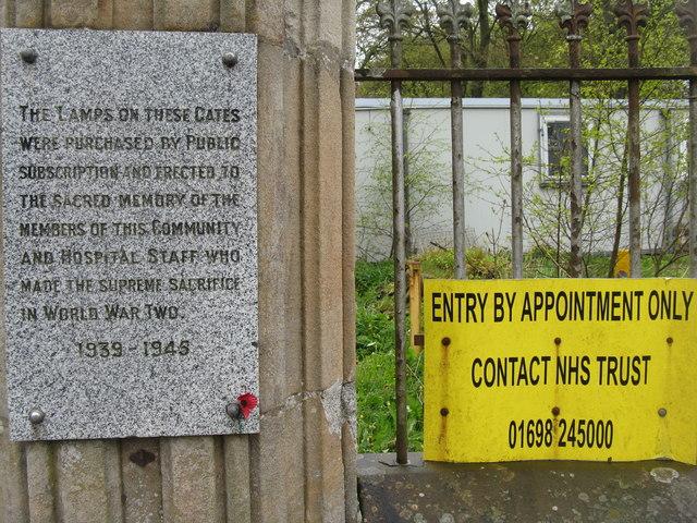 WWII War Memorial Gates at Hartwood Hospital