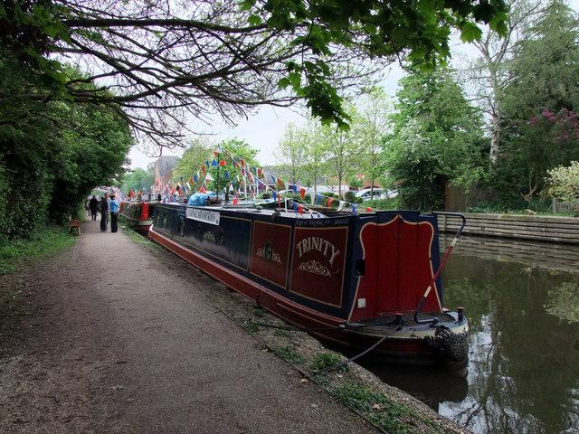 Narrow boat, Trinity on the Grand Union Canal at Rickmansworth