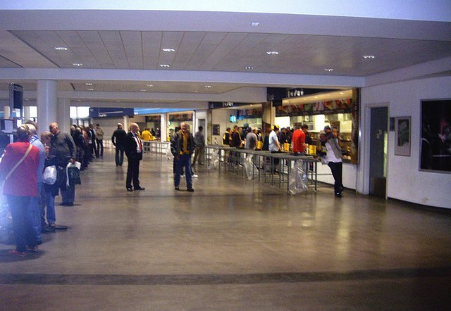 Concourse and comestible bars inside Wembley Stadium