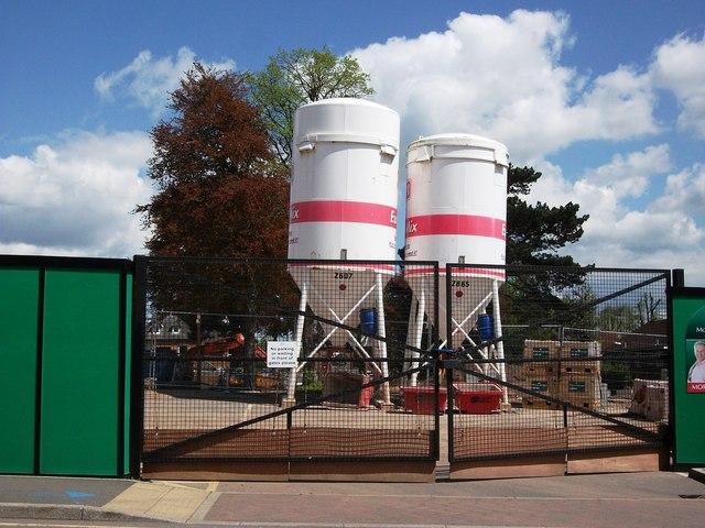 Dry Mortar silos on building site, Kenilworth