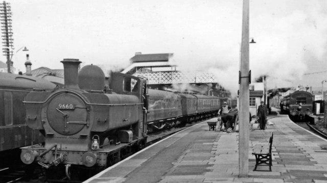 Bridgend Station, with 0-6-0PT