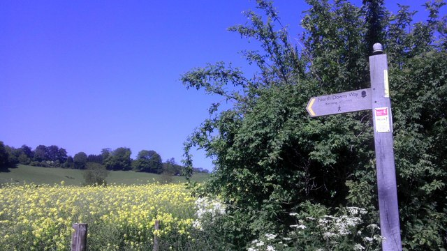 Sign North Downs Way near Kemsing Road, Fawkham Green