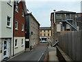 SN9584 : Side lane towards Great Oak Street, Llanidloes by Andrew Hill