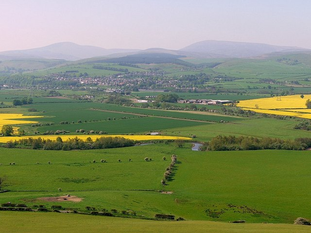 River Till, Wooler & the Cheviot Hills from Gled Law