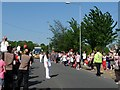ST3086 : Olympic Torch relay changeover, Cardiff Road, Newport (2) by Robin Drayton