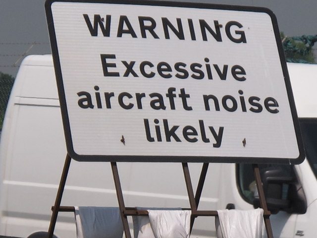 """Excessive aircraft noise"" warning, A40 by RAF Northolt"