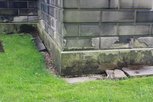 OS Bench mark on St Matthew's Church, Rastrick