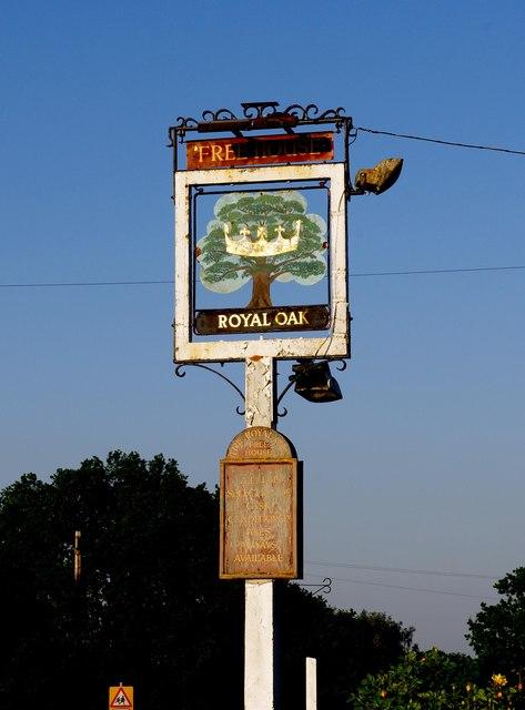 The Royal Oak (2) - sign, 89 Oak Hill, Wood Street Village near Guildford