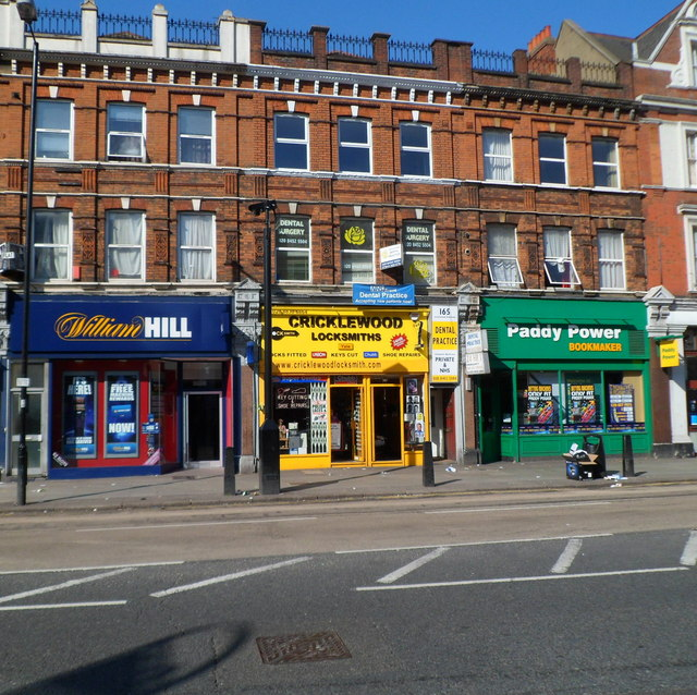 Two bookies and a locksmiths, Cricklewood Broadway London NW2