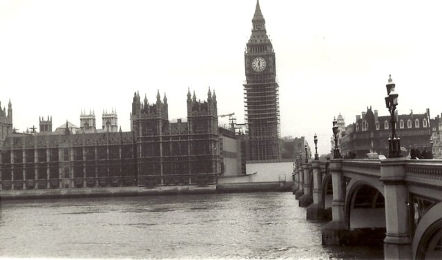 Houses of Parliament With Scaffolding and Westminster Bridge