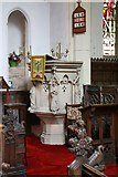 TL9568 : St George, Stowlangtoft - Pulpit by John Salmon