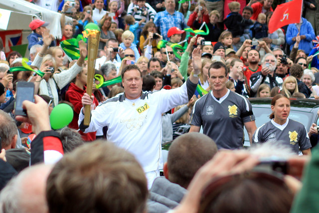 Olympic torch carried by Boris Kitching