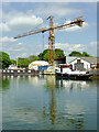 SO7509 : Boatyard and crane at Saul Junction, Gloucestershire by Roger  Kidd