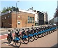 TQ3382 : Barclays Bikes, Shoreditch by Des Blenkinsopp