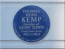 TQ3303 : Blue plaque re Thomas Kemp, Sussex Square, BN2 by Mike Quinn