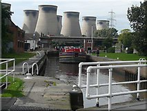 SE4824 : Ferrybridge Lock with the Ferrybridge Power Station Cooling Towers in the background by John M Wheatley