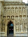 SX9292 : Statuary on West Front of Exeter Cathedral by Rob Farrow