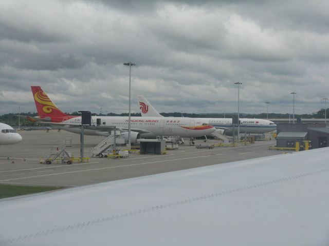 Parked aircraft at London Gatwick Airport