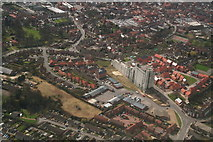 TF3387 : Louth: Maltings and Railway station, aerial 2010 by Chris
