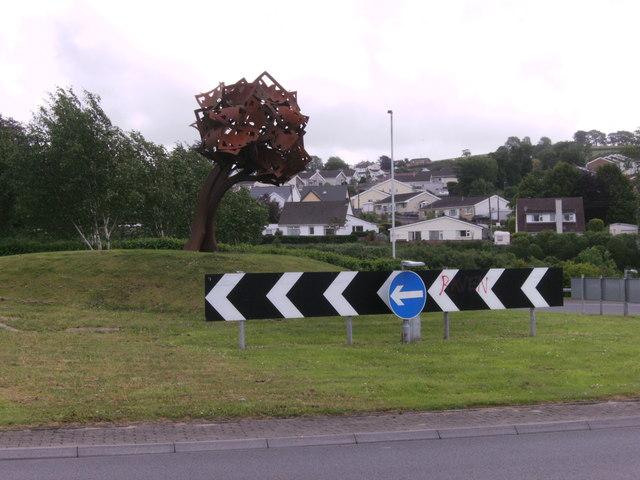 Sculpture on traffic island