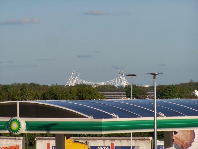 The Reebok Stadium viewed from the Rivington Services, M61 Southbound