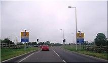 SJ2618 : Four Crosses Roundabout by Anthony Parkes