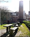 NZ2664 : Lime Street Chimney & Village Green, Ouseburn by Andrew Curtis