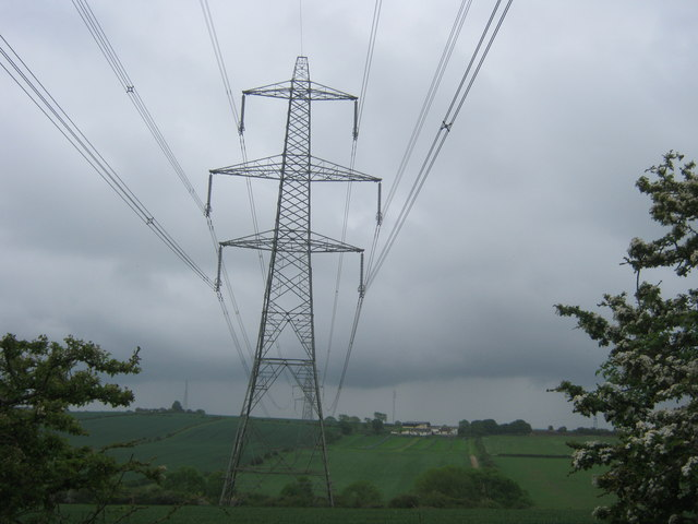 Transmission lines seen from the south east corner of Raisby Quarry