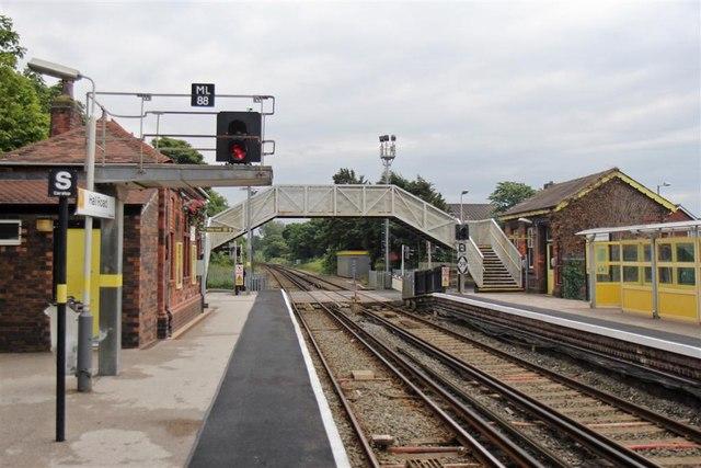 Signals and Footbridge, Hall Road Railway Station