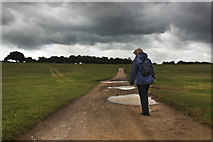 TQ2258 : Public Footpath through the grounds of Epsom Racecourse by Carl Ayling