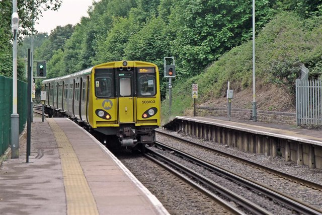Departing from Rice Lane Railway Station