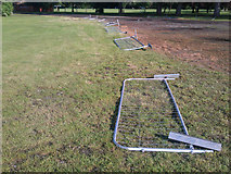 SK4833 : Temporary fencing lies down by David Lally