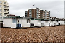 TQ7407 : Beach huts in Bexhill by Steve Daniels
