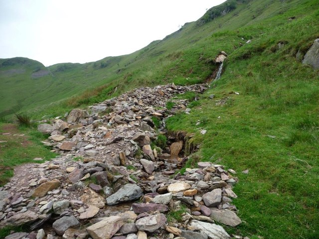 Redgate Gill's fallen stones along the footpath edge