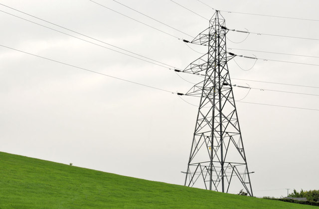 Pylon and power lines near Saintfield (1)