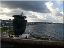 NJ9505 : Passing maritime control tower exiting Aberdeen harbour by Wayne Easton