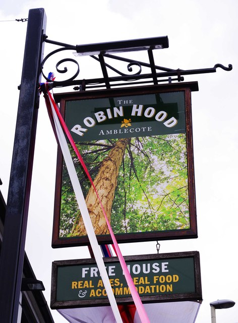 The Robin Hood (2) - sign, 196-200 Collis Street, Amblecote, Stourbridge by P L Chadwick